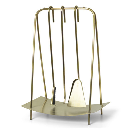 Ferm Living Openhaard gereedschap Port brass goud metaal 39x24x55cm