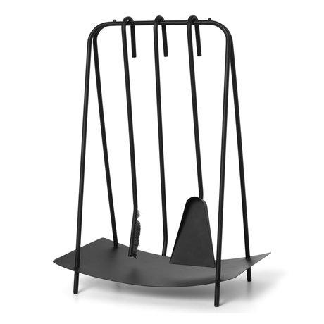 Ferm Living Openhaard gereedschap Port zwart metaal 39x24x55cm