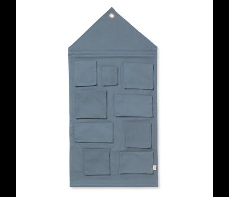 Ferm Living Storage bag House dusty blue cotton 50x98cm