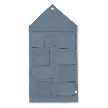 Ferm Living Sac de rangement House en coton bleu poussiéreux 50x98cm