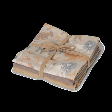 Ferm Living Carré de mousseline hydrophile en coton multicolore Safari 70x70cm, lot de 3