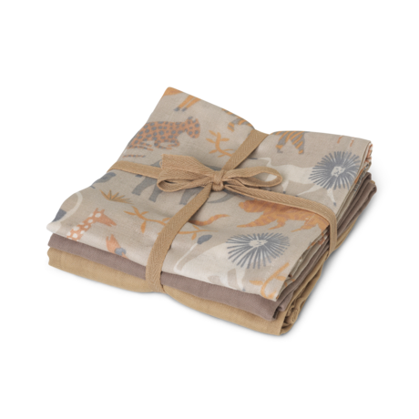 Ferm Living Hydrofiele doek muslin squares Safari multicolour katoen 70x70cm set van 3 stuks