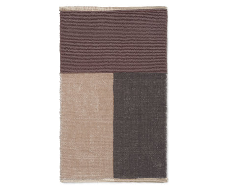 Ferm Living Tapis de bain velours textile marron 80x50cm