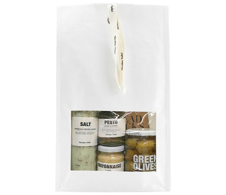 Nicolas Vahe Favorites gift package with salt, pesto, olive oil, mayonnaise and breadsticks