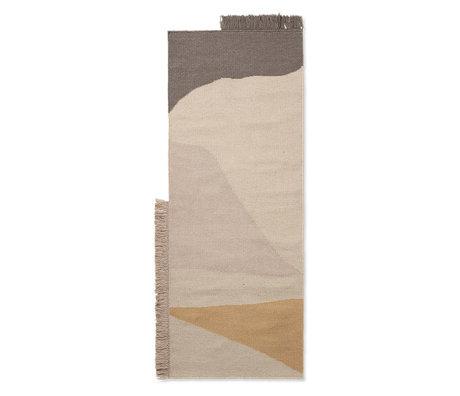 Ferm Living Tapis Kilim Runner Earth en laine multicolore coton 180x70cm