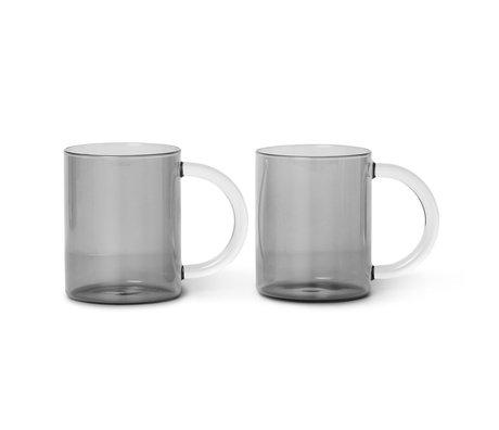 Ferm Living Tasse encore en verre gris fumé set de 2 10x8x12.2 cm