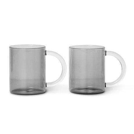 Ferm Living Mug Still smoked gray glass set of 2 10x8x12.2 cm