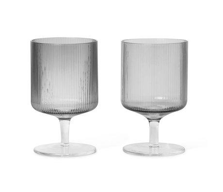 Ferm Living Wineglass Ripple smoked gray glass set of 2 Ø7.5x12cm
