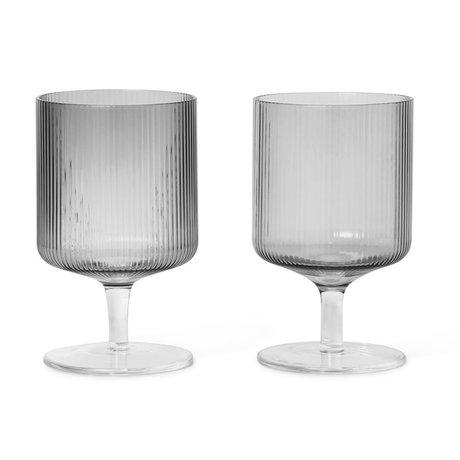 Ferm Living Wineglass Ripple gris fumé verre set de 2 Ø7.5x12cm