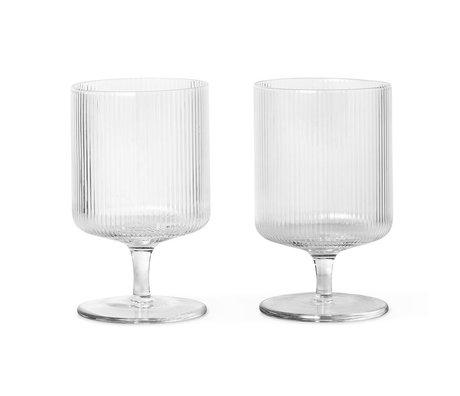 Ferm Living Wineglass Ripple transparent glass set of 2 Ø7.5x12cm