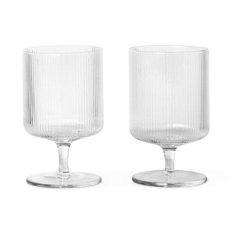 Ferm Living Wijnglas Ripple transparant glas set van 2 Ø7,5x12cm