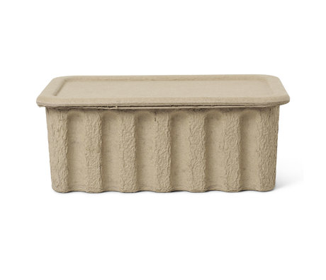 Ferm Living Aufbewahrungsbox Papierzellstoff großer brauner Karton 30x40x15cm 2er-Set