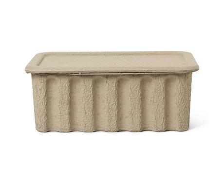 Ferm Living Boîte de rangement Paper Pulp grand carton brun 30x40x15cm lot de 2