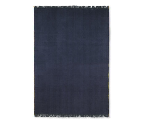Ferm Living Lebender Teppich Herringbone dunkelblaue Wolle Baumwolle 120x180cm