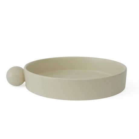 OYOY Tablett Inka aus cremefarbener Keramik Ø26x5cm