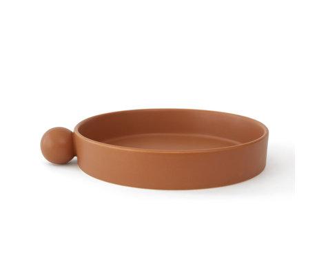 OYOY Tray Inka caramel brown ceramic Ø26x5cm