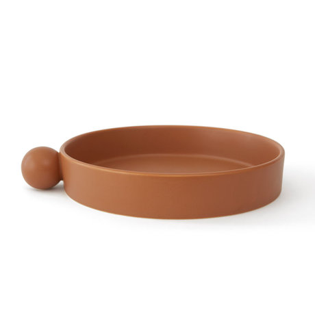 OYOY Plateau Inka Ø26x5cm en céramique marron caramel