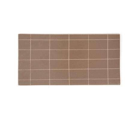 OYOY Bord Suki bruin roze keramiek square 32x16cm