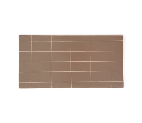 OYOY Plate Suki brown pink ceramic square 32x16cm