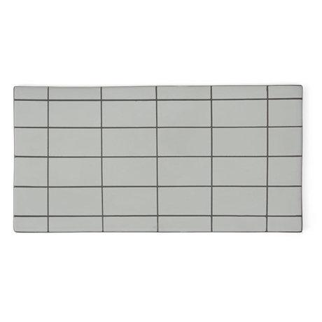 OYOY Assiette Suki carrée en céramique gris vert menthe 32x16cm