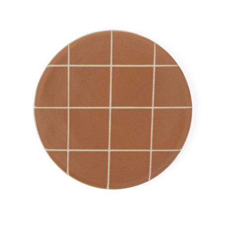 OYOY Bord Suki caramel bruin wit keramiek round Ø16cm