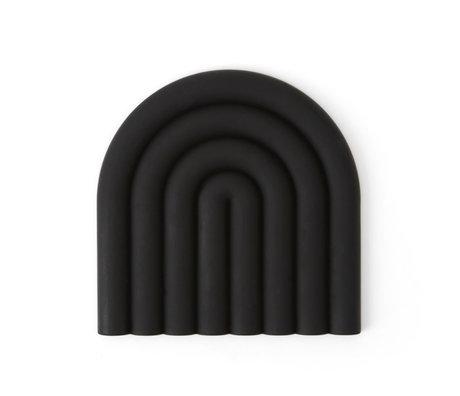 OYOY Coaster Rainbow black silicone 15x15cm