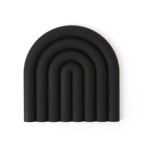OYOY Coaster Rainbow silicone noir 15x15cm