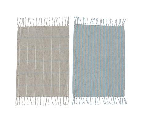 OYOY Theedoek Gobi blauw grijs katoen set van 2 50x70cm