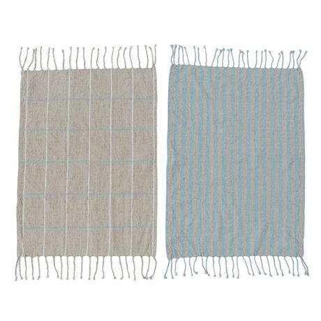 OYOY Geschirrtuch Gobi blau grau Baumwolle 2er Set 50x70cm