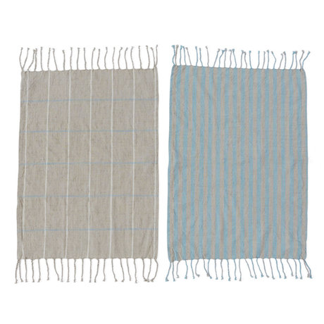 OYOY Torchon Gobi coton bleu gris set de 2 50x70cm