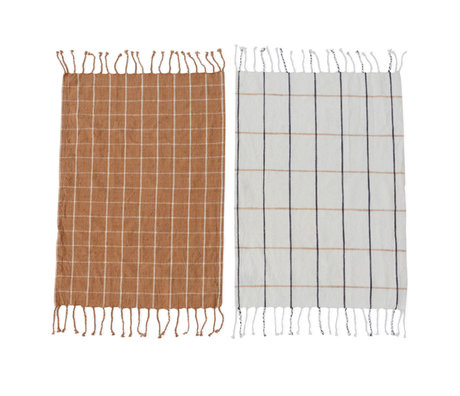 OYOY Tea towel Gobi caramel off-white cotton set of 2 50x70cm
