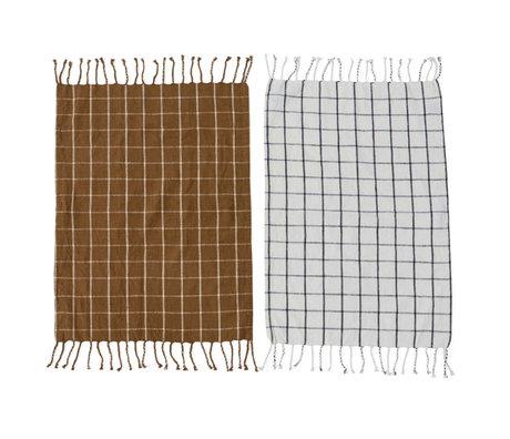 OYOY Torchon Gobi coton blanc et brun lot de 2 50x70cm