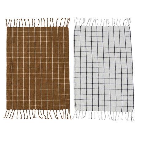 OYOY Theedoek Gobi bruin wit katoen set van 2 50x70cm