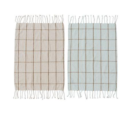 OYOY Tea towel Gobi mint green off-white cotton set of 2 50x70cm