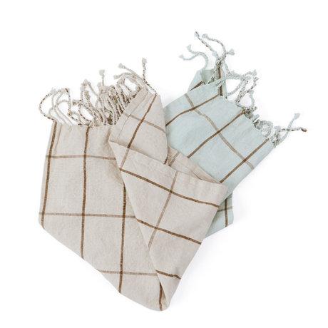 OYOY Torchon Gobi coton blanc écru vert menthe set de 2 50x70cm