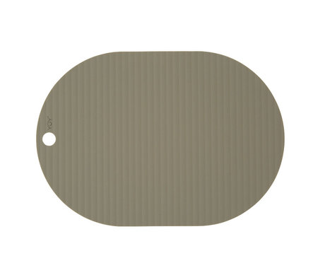 OYOY Set de table Ribbu en silicone vert olive lot de 2 33x46cm