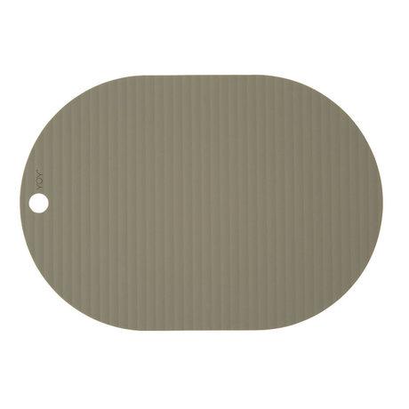 OYOY Placemat Ribbu olijf groen siliconen set van 2 33x46cm