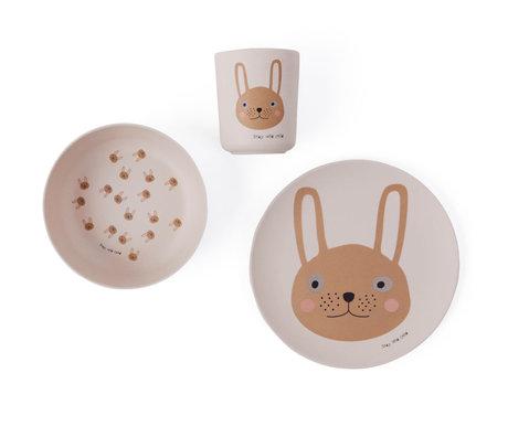 OYOY Kinderservies Rabbit roze set van 3