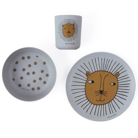 OYOY Vaisselle pour enfants Lion gris set de 3