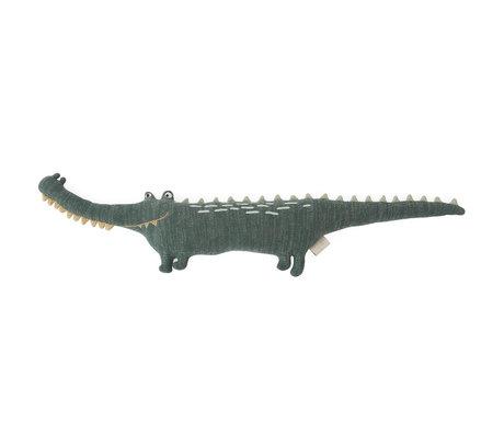 OYOY Hug Mr. Crocodile Gustav dark green textile 90x14x17cm