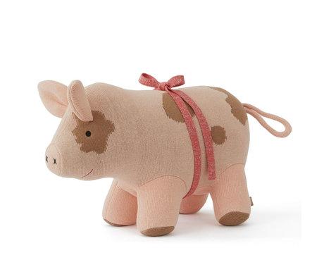 OYOY Hug Sofie le cochon de Noël textile rose 44x19x32cm