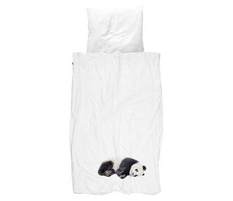 Snurk Beddengoed Enveloppe de couette Lazy Panda en coton noir et blanc 140x200 / 220cm