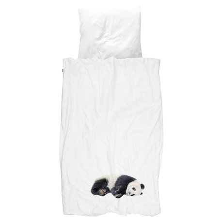 Snurk Beddengoed Dekbedovertrek Lazy Panda zwart wit katoen 140x200/220cm