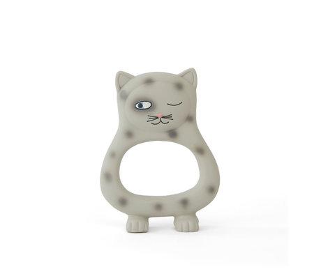 OYOY Bijtspeeltje Cat Benny grijs natuurlijk rubber 13x9,5cm