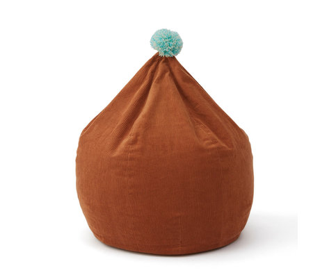 OYOY Pouf poire velours côtelé coton caramel marron Ø60x70cm