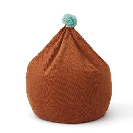 OYOY Beanbag Corduroy caramel brown cotton Ø60x70cm