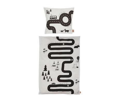 OYOY Dekbedovertrek Adventure Junior gebroken wit katoen 100x140cm - incl. kussensloop 40x45cm