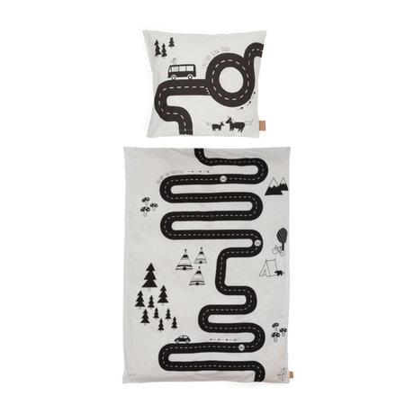 OYOY Housse de couette Adventure Junior en coton blanc cassé 100x140cm - avec taie d'oreiller 40x45cm