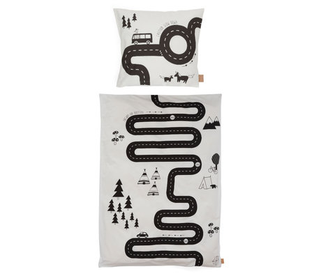 OYOY Duvet cover Adventure Adult off-white cotton 140x200cm - incl. Pillowcase 60x63cm