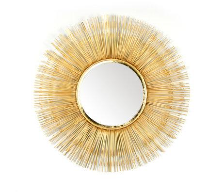 wonenmetlef Spiegel Sonny Messing Gold Glas Eisen Ø80cm